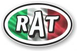 RAT Oval Funny Parody Design With Italy Italian Flag Motif Vinyl Car sticker decal 120x77mm
